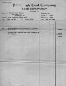 Invoice from the collection of Barbara Ritts, her grandfather C. E. Ritts Sr.was a Pilot and then Supt. of  River Transportation for Crucible Steel from 1925 to 1952