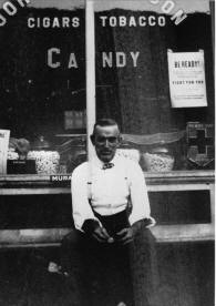 Close up apparently showing the owner of the store, From collection of Historic Elizabeth