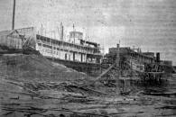 Photo from newspaper of first boats pulled onto Elizabeth Marine Ways on October 18, 1896  from collection of John Dziama