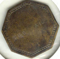 "From collection of Jeremy Stieh, Back of ""Tug Aid"" token"