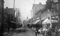 Close up of picture on cover of Industrial Edition of Elizabeth Herald, about 1917.  From collection of William Caulkett of Elizabeth, PA in 2014. William's son is Zach Caulkett and Zach's cousin is Jeremy Stiehl also of Elizabeth.   The large brick building on the right side of street apppears to be Wylie Brother's Hardware Store as seen in section down this page.