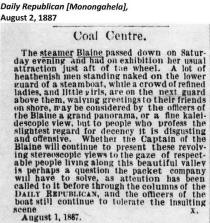Article from Monongahela Daily Republican dated August 2, 1887 courtesy of J. K. Folmer