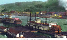A colorized version of Steamer Pacific No. 2 and Iron Age on the Monongahela