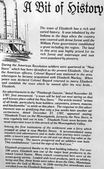 Top section of sign that hangs in Red Lion Restaurant, Elizabeth, PA, giving historical information of Elizabeth, PA and also the Red Lion Restaurant building.
