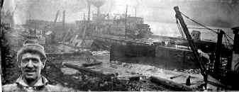 SAILOR turmed over in Lock 3. Photo from collection of Monongahela River Buffs