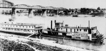 Steamer VALLEY BELLE with Bryant Showboat, date is unknown but the location is Cincinnatti, OH.