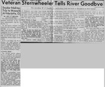 Newspaper article from the Sept 12, 1955 issue of the Pittsburgh Post Gazette concerning the final trip of the W. P. SNYDER