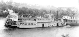 Steamer W.P. SNYDER JR. 9-12-55 near Belle Vernon PA., on its way to Marietta, OH. Built 1945