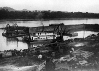Another photo showing this Dredge at work, from collection of Cincinnati Public Library