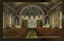 Colorized postcard of interior of St. Michaels is dated 1908