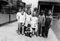 Photo from collection of Historic Elizabeth shows group of students standing in school yard next to fence