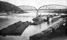 The Steamer TITAN at Charleroi's Lock 4 with bridge in background 1909