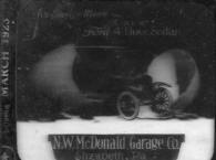 N. W. McDonald Ford Garage advertisement dated 1923