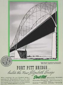 "Magazine ad of Fort Pitt Bridge Company relating to them building the ""New"" Elizabeth Bridge"