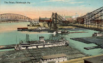 Postcard dated circa 1915 showing Pittsburgh Point with Steamer CHARLES BROWN tied to barges.