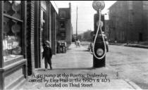 From collection of Historic Elizabeth showing a gas pump on the sidewalk of Third Street
