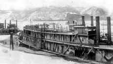 Steamer SAILOR tied up with ice on the river